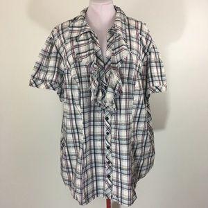 Torrid Plaid Collar Button Down Shirt #BJ